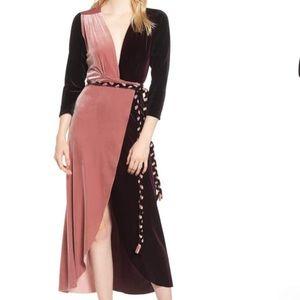 Anthropologie MISA Paloma Velvet Wrap Midi Dress